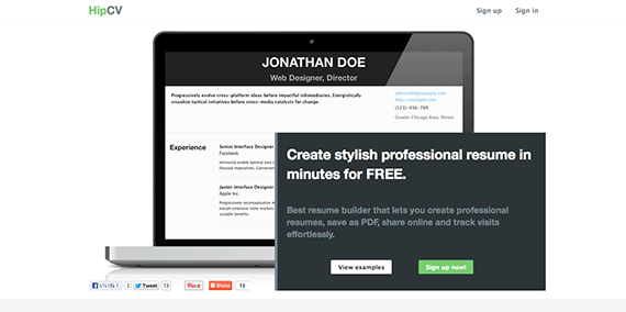 HipCV Create Stylish Professional Resume In Minutes for FREE