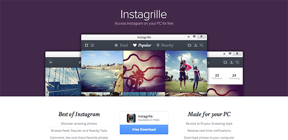 Instagrille Instagram on your PC