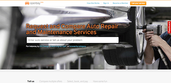 Select compare and book auto repair and maintenance services with Openbay